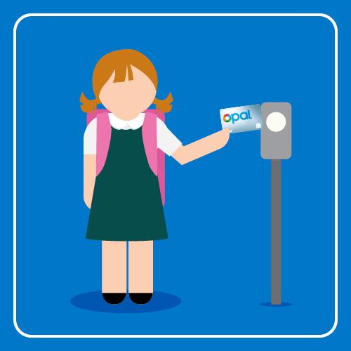 School holding their school Opal card in front of an Opal card reader to tap onto the school bus