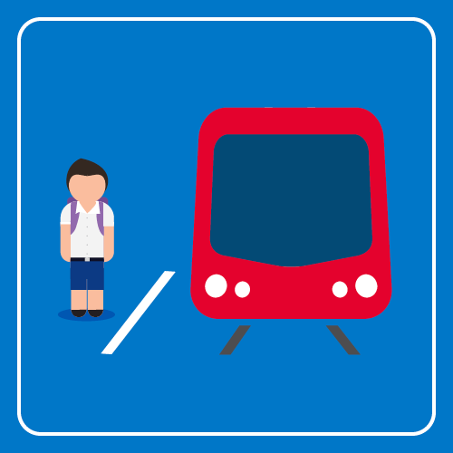 Student is waiting for the light rail service