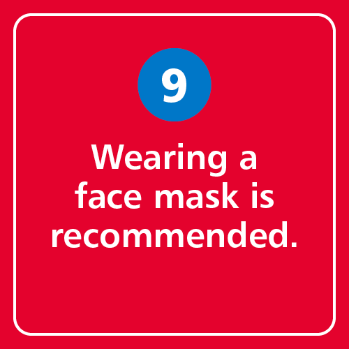 Wearing a face mask is recommended.